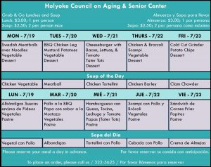 Senior Center Menu for the Week 07.19.21