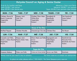 Senior Center Menu for the Week 07.26.21