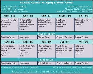 Senior Center Menu for the Week 08.02.21