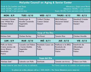 Senior Center Menu for the Week 08.09.21