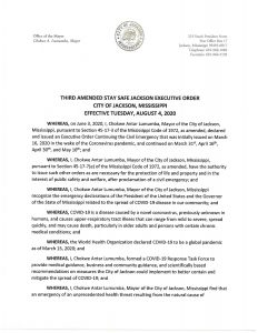 3rd Amended Stay Safe Jackson Executive Order