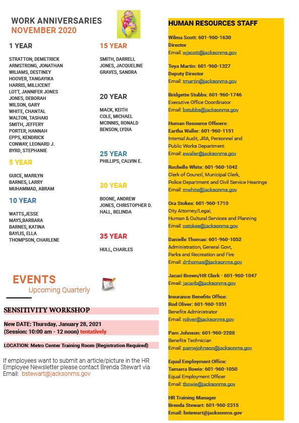 Page 5 Employee Newsletter Dec 2020