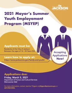 Mayor's Summer Youth Employment Flyer 2021