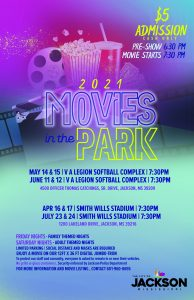 City of Jackson Drive-In Movies In the Park flyer
