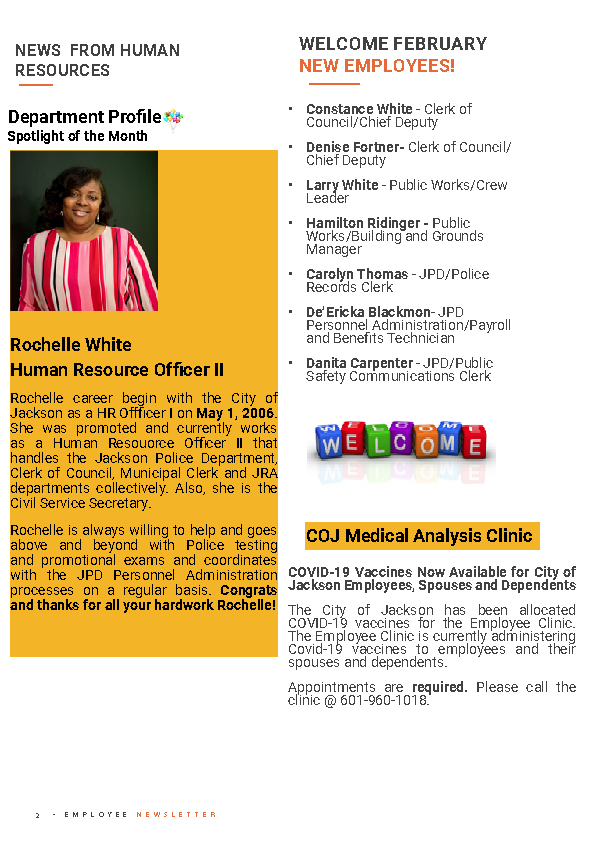 Page 2 Employee Newsletter March 2021