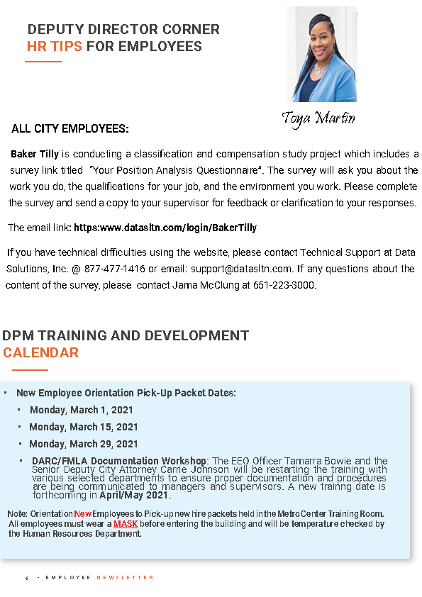 Page 6 Employee Newsletter March 2021