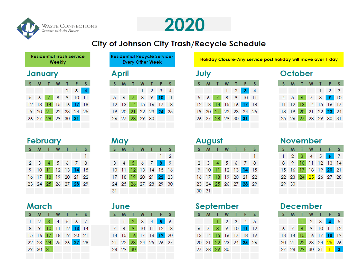2020 Recycling Dates