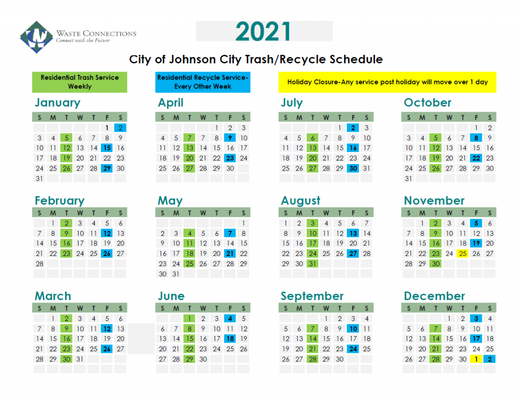 2021 Trash - Recycling Schedule