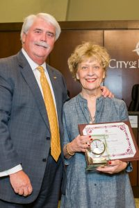 2018 Mayor's Award recipient, Sue Ellen Boesch, with Mayor Don Patterson
