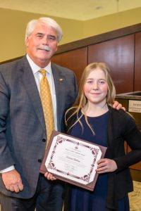 2018 Mayor's Award recipient, Lauren Dalton, with Mayor Don Patterson