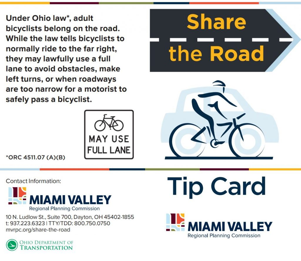 Click here for a Share the Road Tip card