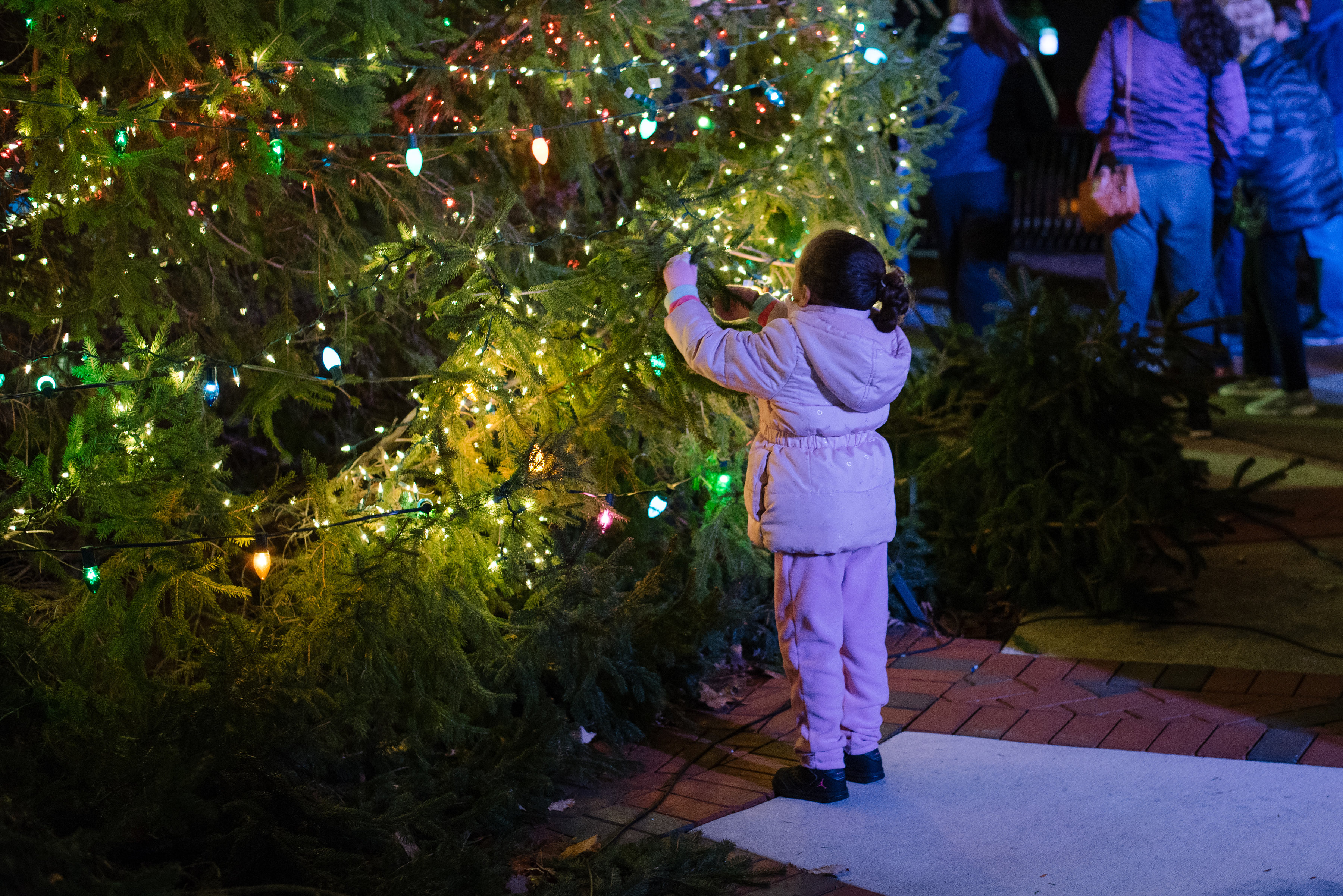 child with christmas tree