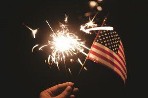sparkler and flag