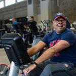 man on fitness bike