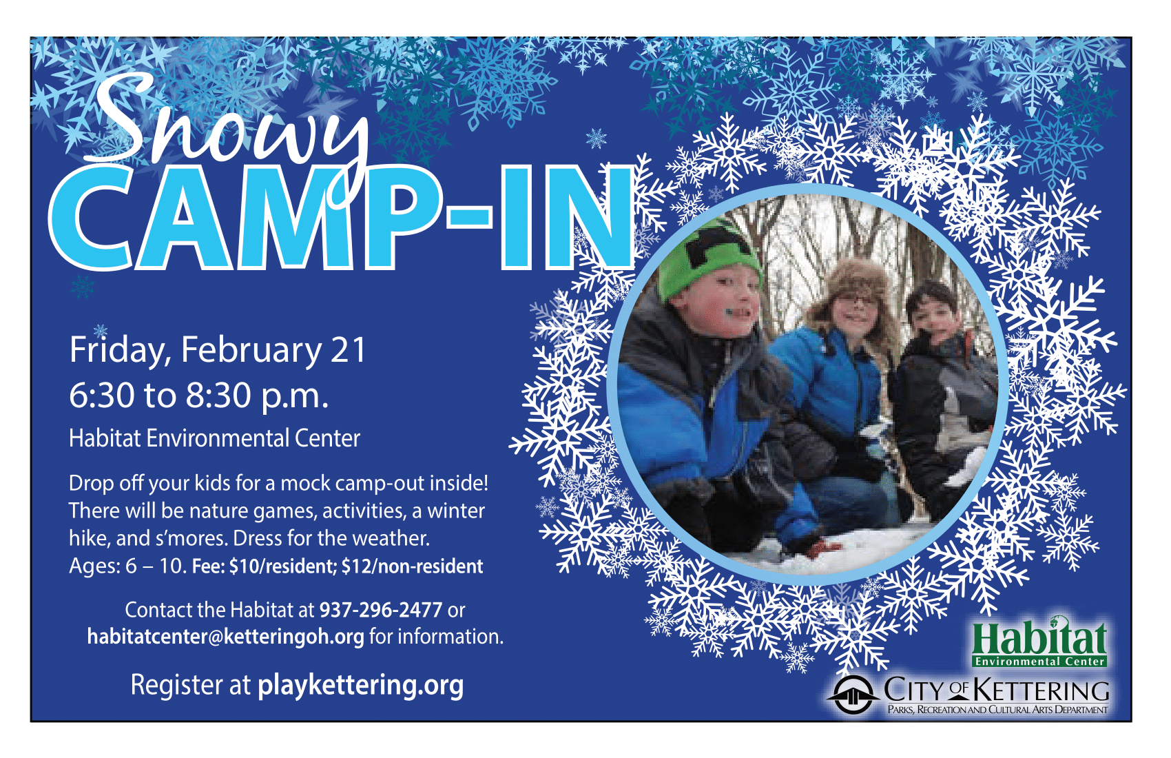 snowy camp in flyer