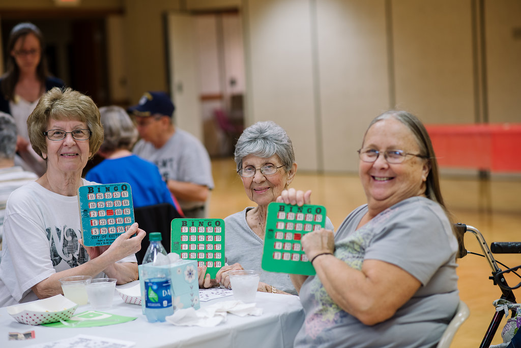 women with bingo cards
