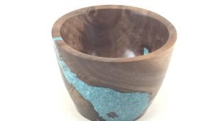 wood and turquoise bowl