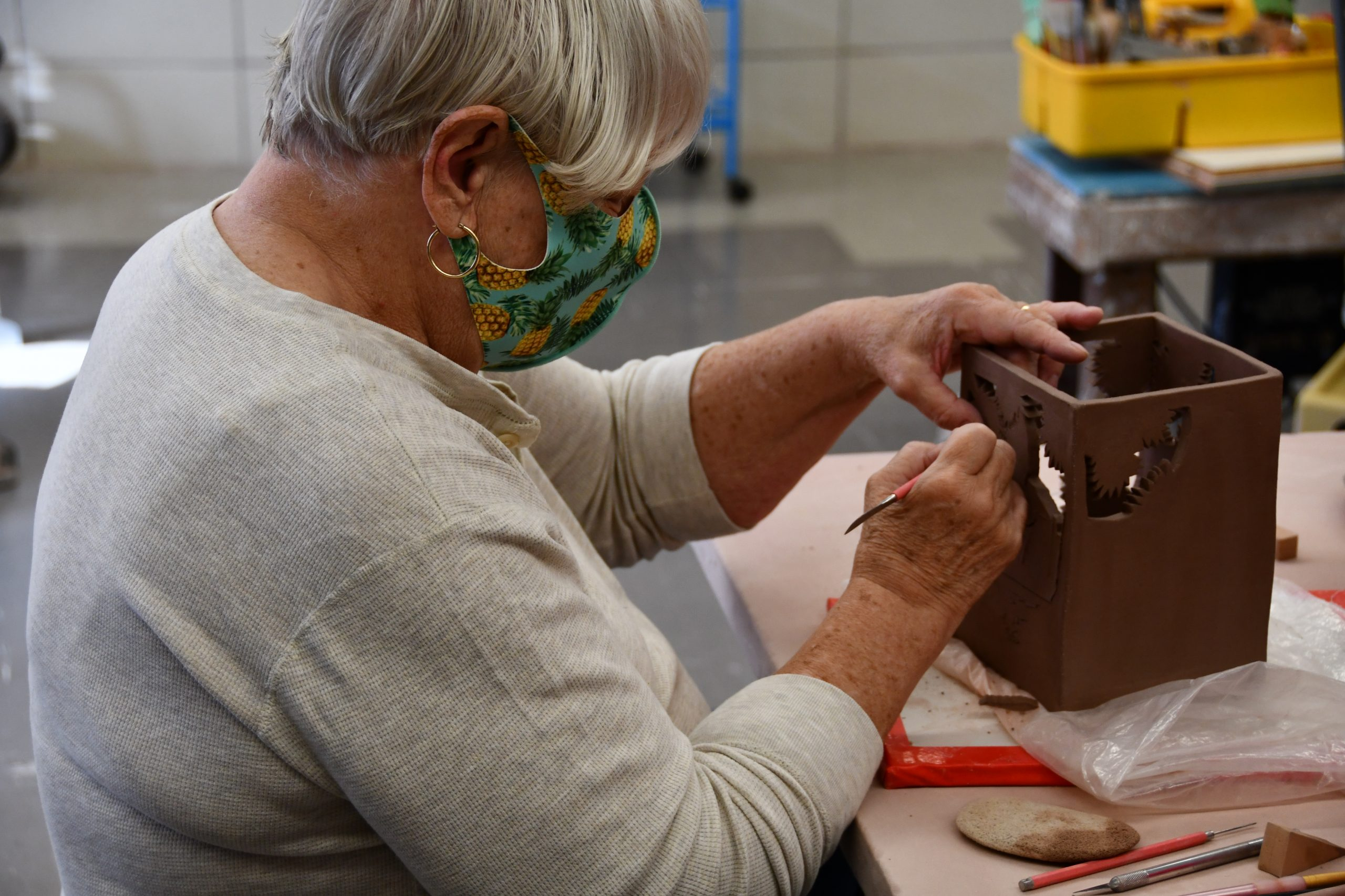 woman doing ceramics