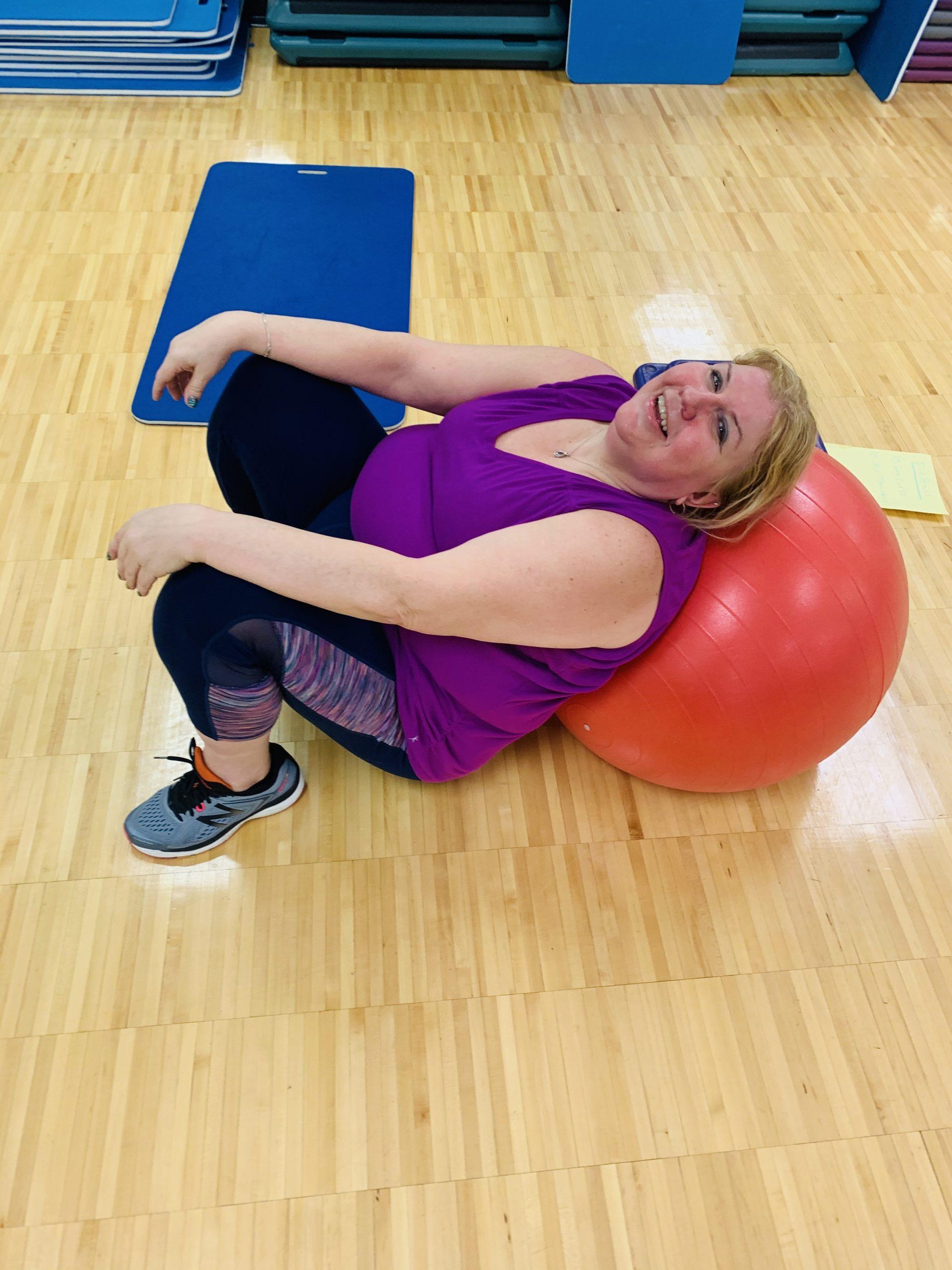 woman on exercise ball