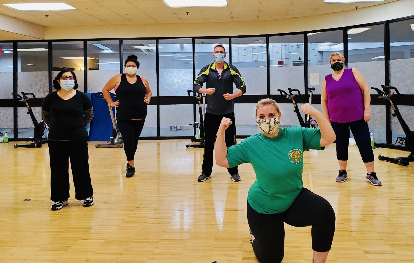 masked exercise class