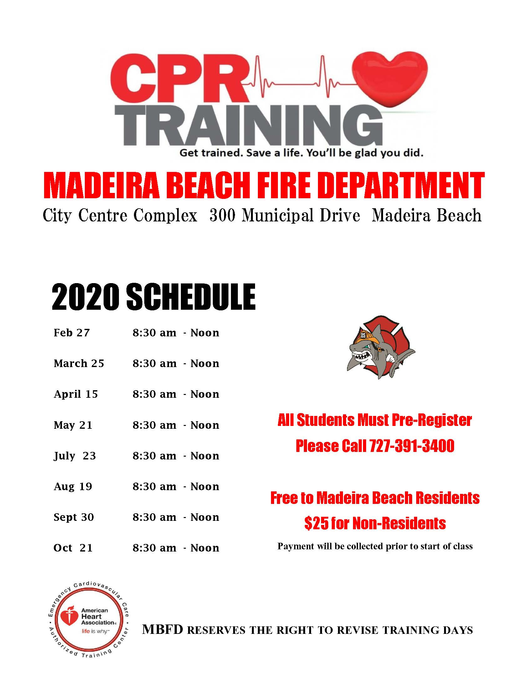 2020 Madeira Beach CPR Schedule