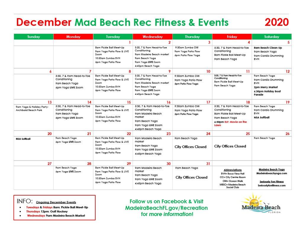 December 2020 - Fitness Calendar