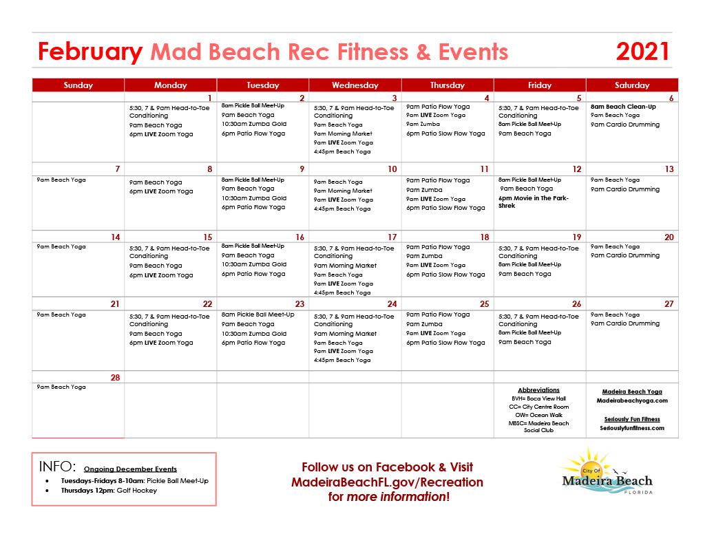 February Fitness Calendar
