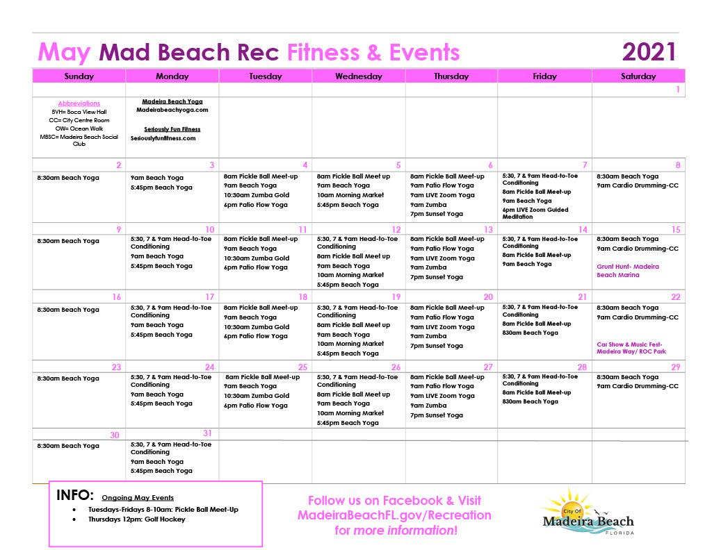 Fitness Calendar May 21