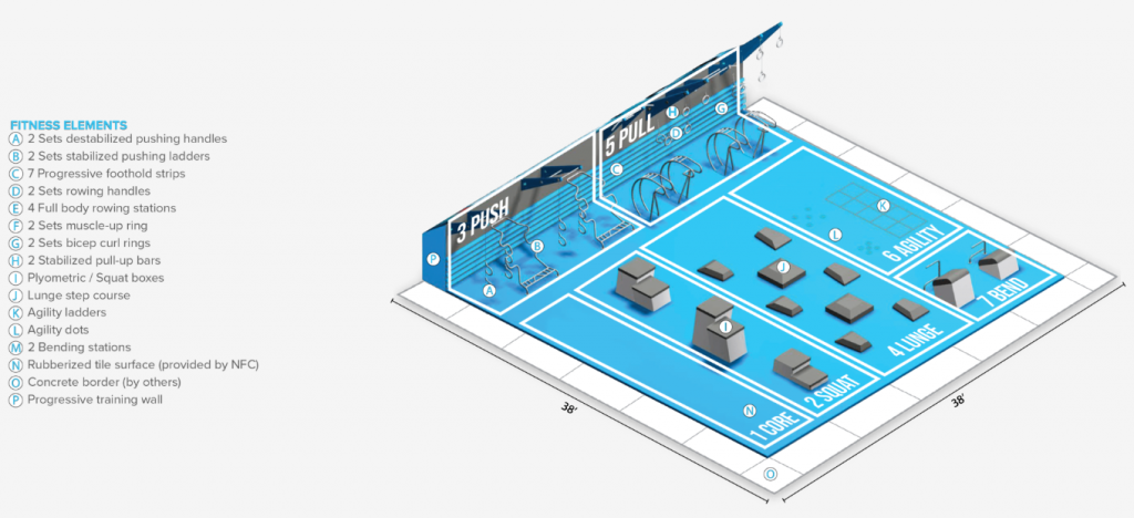 Conceptual rendering of the fitness court