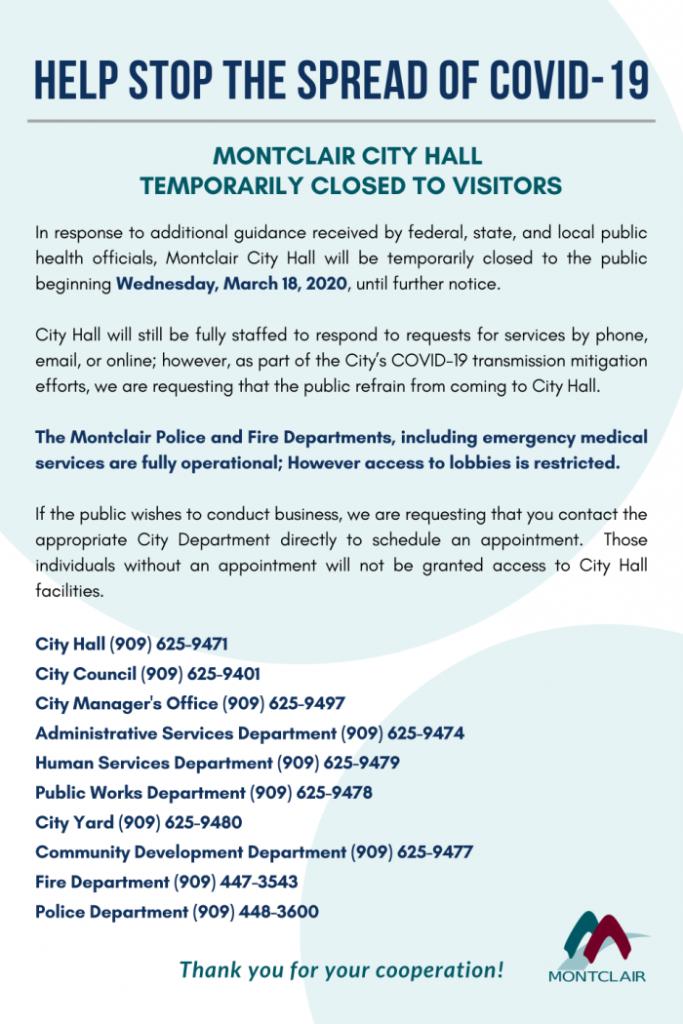 Montclair City Hall Closed