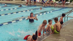 Swim lesson kicking