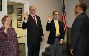 Swearing in of Gerri Harbison, Mike Cappel, and Craig with Judge Mallory with Judge Mallory