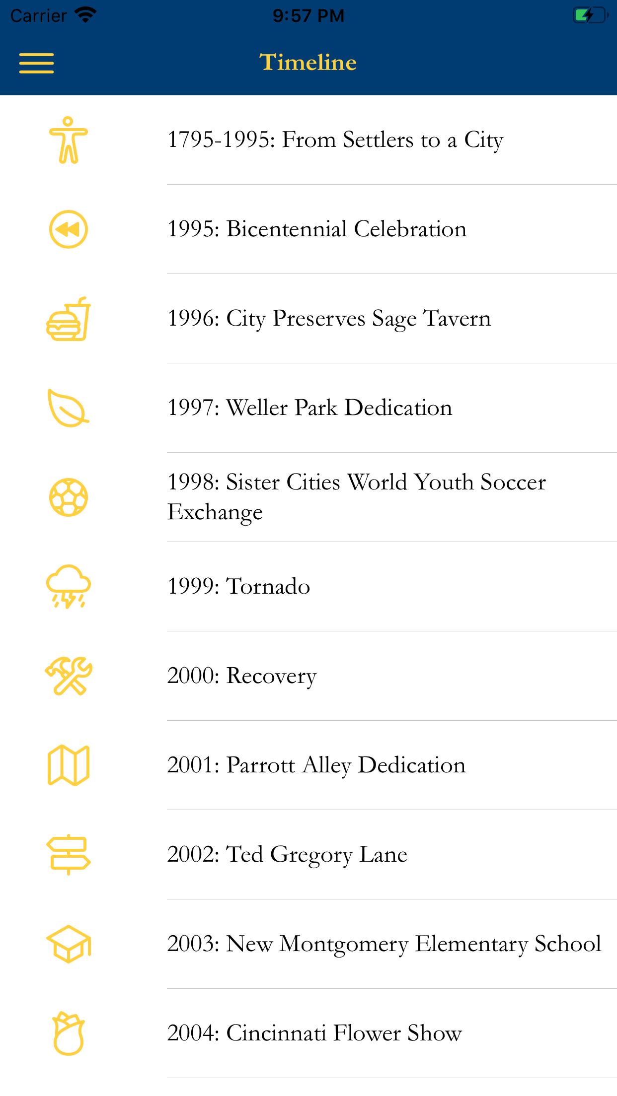 iPhone app history timeline