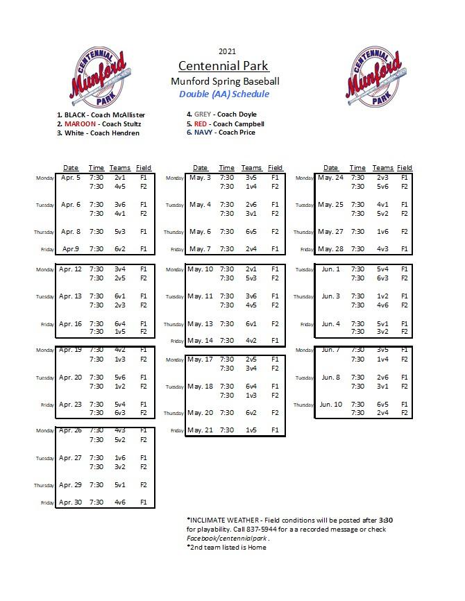 Double A Baseball Schedule