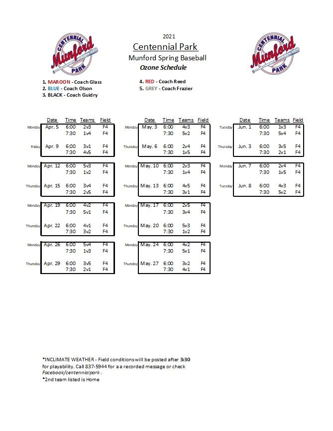 Ozone Baseball Schedule