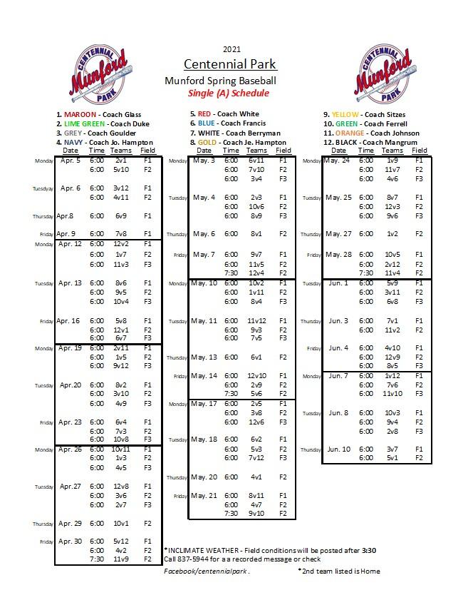 Single A Baseball Schedule