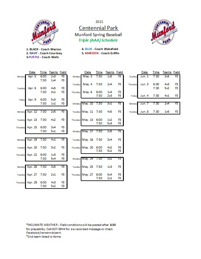 Tripple A Baseball Schedule