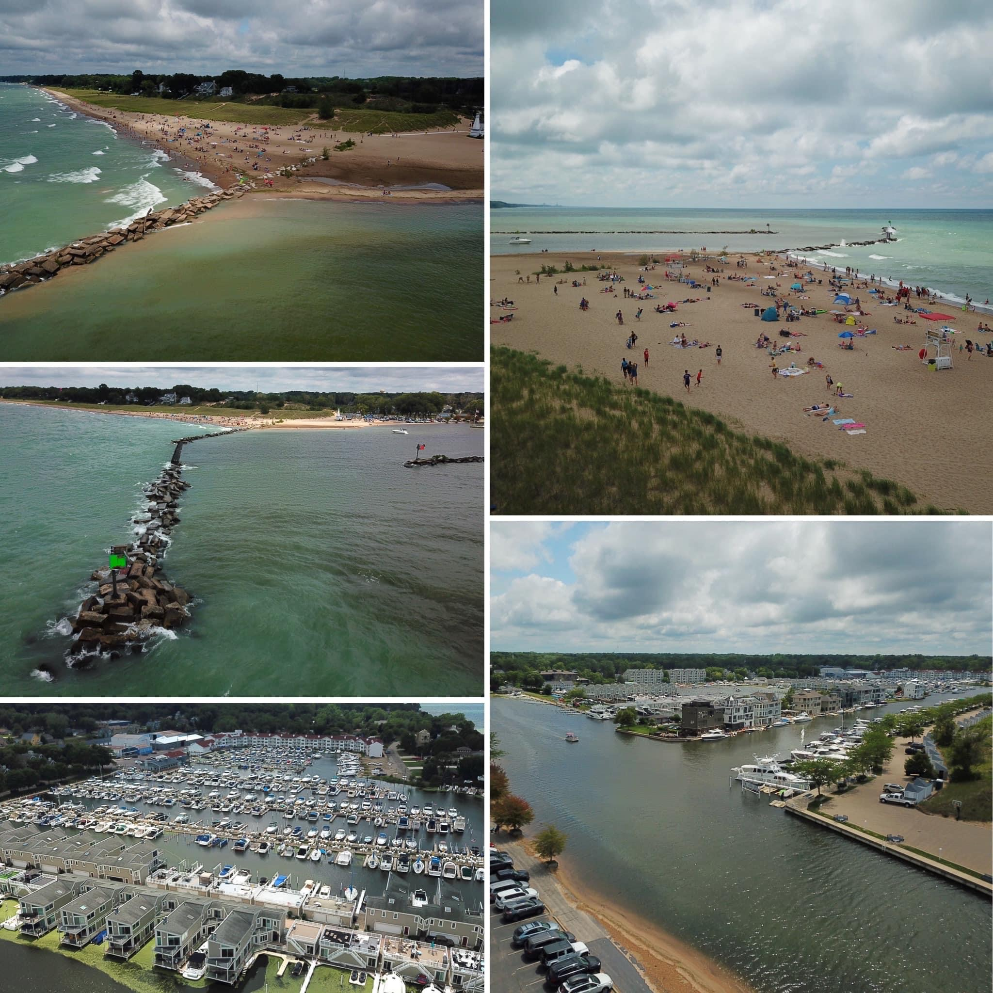 collage of beach and marina pictures
