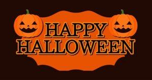 Happy Halloween sign with pumpkins