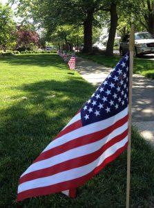 Flags along street