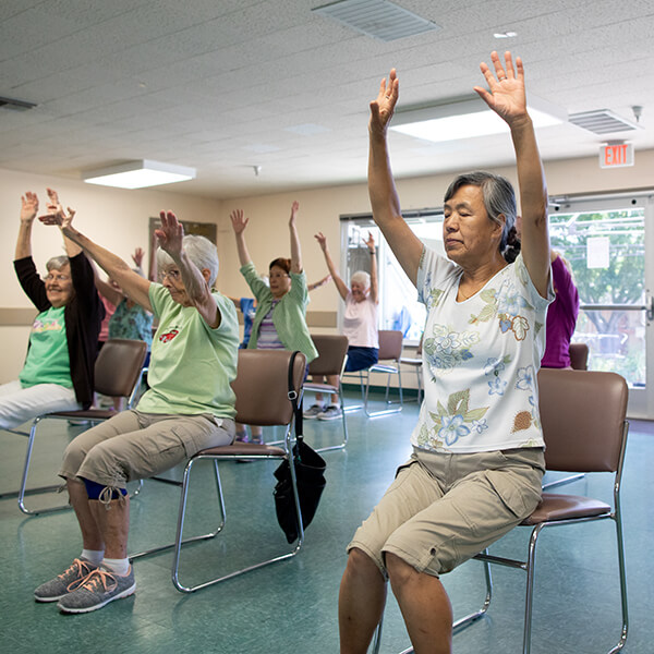 photo of seniors in an activity class
