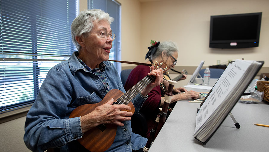 photo of active adults music class