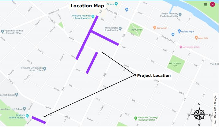 Map Showing Extent of B Street Sewer Replacement