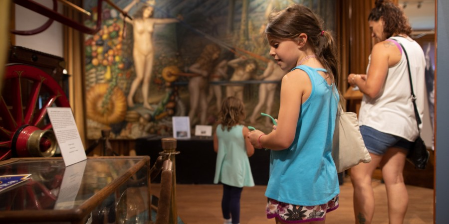Girl looking at museum