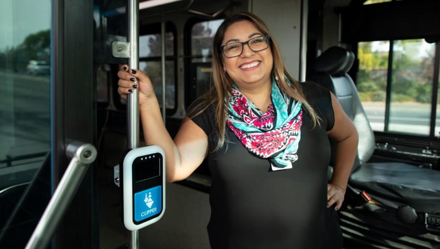 photo of transit staff on bus