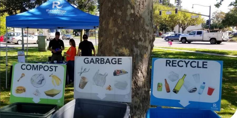 photo of recycling bins