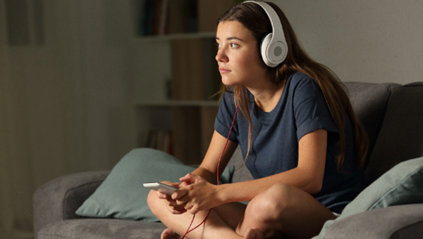 teenager with headphones