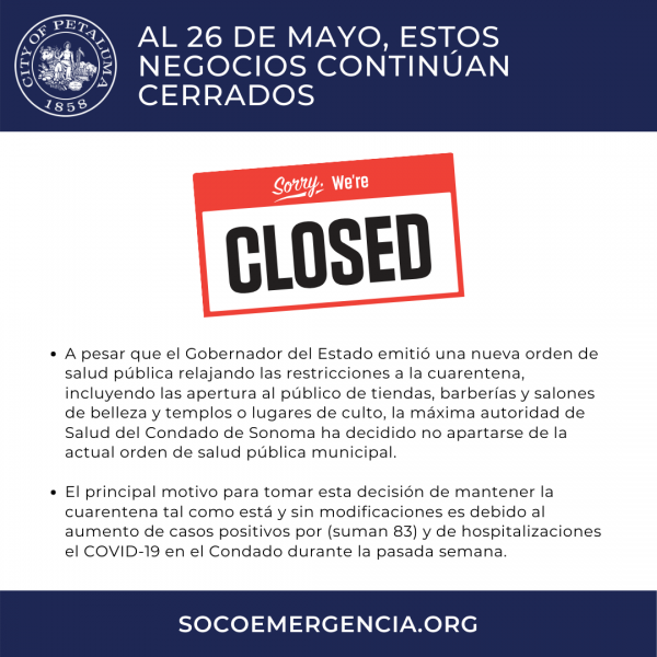 businesses still closed in spanish