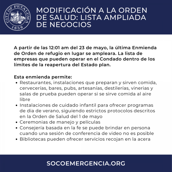 amended health order in spanish