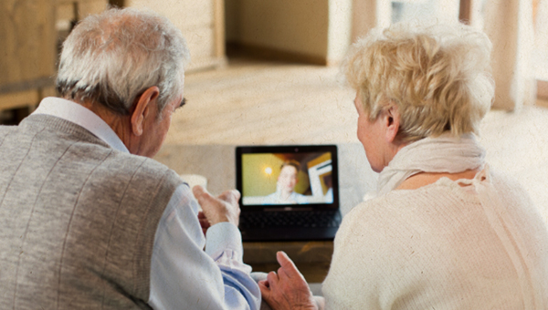 image of grandparents on video call